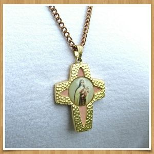 Vintage Cross St. Mary Necklace Germany